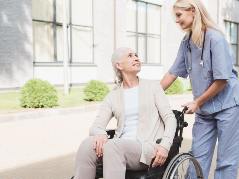 Caregiver and elderly person